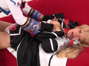 【コスプレレズ動画】リリカルなのはのアニコスしたビアン少女がピンクローターでレズプレイ